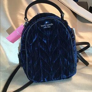 Kate Spade Teal Velvet Small Back Pack